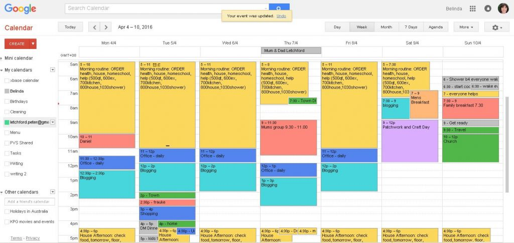 giao diện Google Calendar